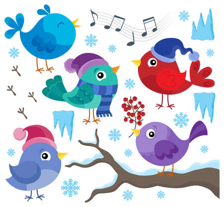 Winter birds theme set 1 - eps10 vector illustration. Illustration