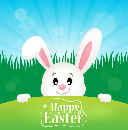 Happy Easter theme with lurking bunny - eps10 vector illustration.