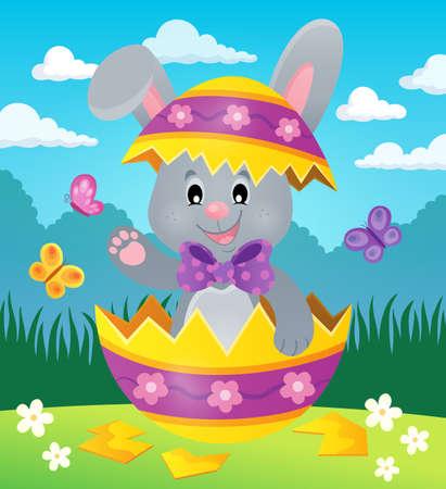 Easter bunny in eggshell theme image 2 - eps10 vector illustration.