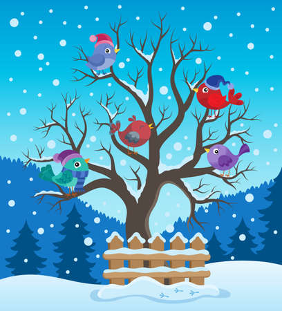 Winter tree with birds theme image 2 - eps10 vector illustration.