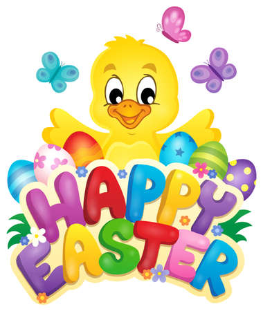 easter sign: Happy Easter sign with chicken and eggs - eps10 vector illustration. Illustration