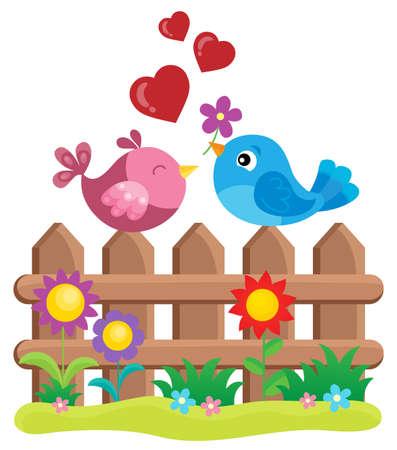 Valentine birds on fence theme 1 - eps10 vector illustration. Illustration