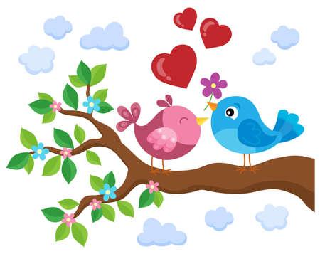 Valentine birds on branch theme 1 - eps10 vector illustration.