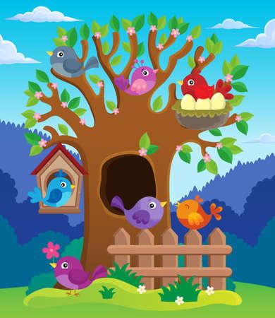nesting: Tree with stylized birds theme image 2 - eps10 vector illustration.