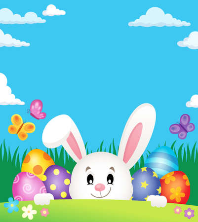 lurk: Easter eggs and lurking bunny theme 2 - eps10 vector illustration.