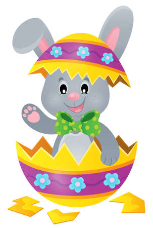 broken eggs: Easter bunny in eggshell theme image 1 - eps10 vector illustration.