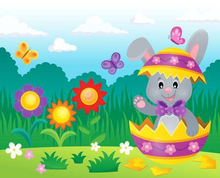 Easter bunny in eggshell theme image 3 - eps10 vector illustration. Illustration