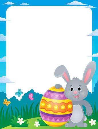 animal ear: Frame with stylized bunny and Easter egg - eps10 vector illustration. Illustration