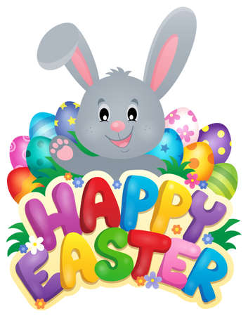 easter sign: Happy Easter sign with bunny and eggs - eps10 vector illustration.