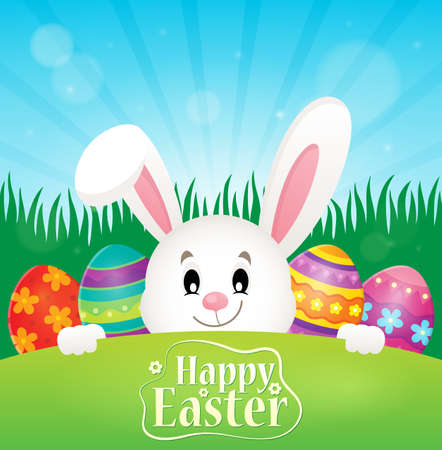 tame: Happy Easter theme with eggs and bunny - eps10 vector illustration. Illustration
