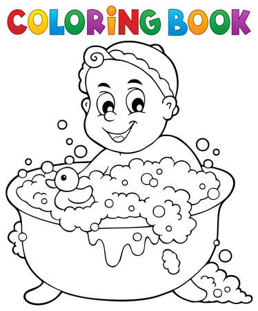 infant baby: Coloring book baby theme illustration.