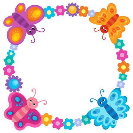flower shape: Stylized colorful border design.