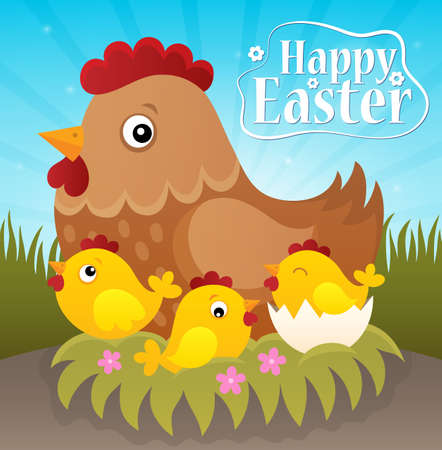 tame: Happy Easter theme with hen and chickens