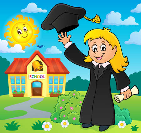 outdoor event: Graduation theme image Illustration