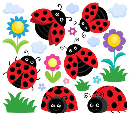 Stylized ladybugs theme set