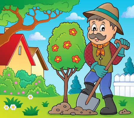 gardening: Gardener planting tree theme image