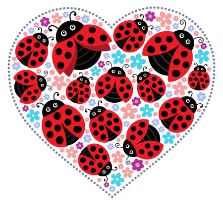 Valentine ladybugs theme image Illustration