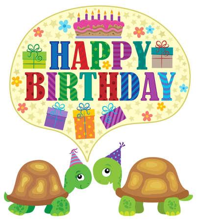 Happy birthday theme with turtles