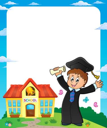 happiness or success: Graduation theme image Illustration