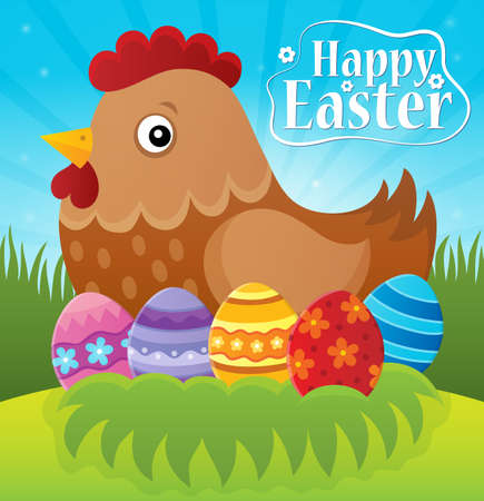 domesticated: Happy Easter theme with hen and eggs