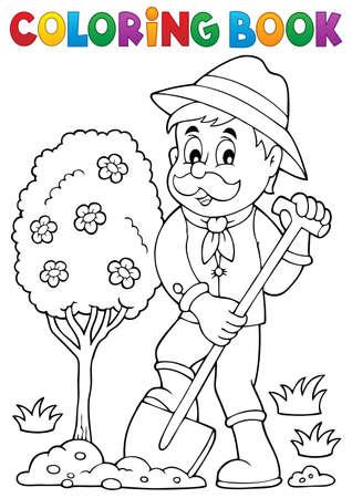 planting tree: Coloring book gardener planting tree