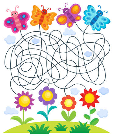 Maze 24 with butterflies and flowers Illustration