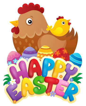 easter sign: Happy Easter sign with hen and chicken Illustration