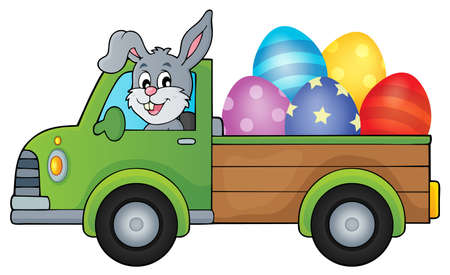 Truck with Easter eggs theme image 1 - eps10 vector illustration.