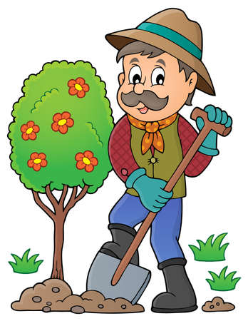 Gardener planting tree theme image 1 - eps10 vector illustration. Illustration