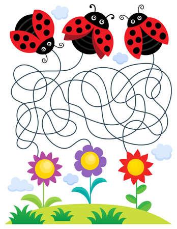 Maze 25 with ladybugs and flowers - eps10 vector illustration. Illustration