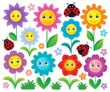 Happy flowers topic set 1 - eps10 vector illustration. Stock Vector - 73405190