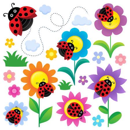 Ladybugs and flowers thematic set - eps10 vector illustration. Illustration