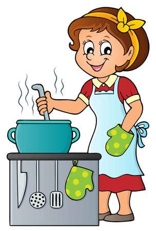 food preparation: Female cook theme image 2 - eps10 vector illustration.
