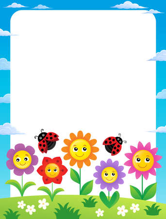 Frame with flowers and ladybugs 1 - eps10 vector illustration.