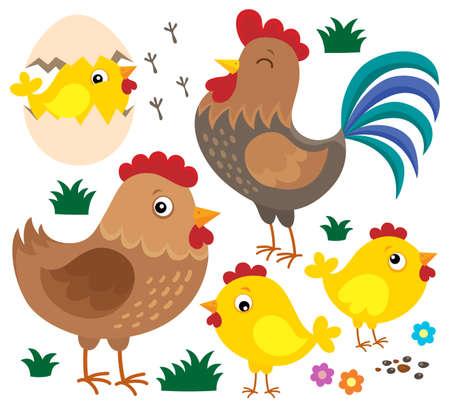 Chicken thematic set 1 - eps10 vector illustration. Illustration
