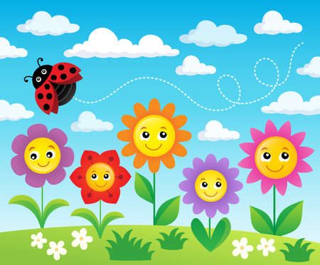 cheerful: Happy flowers topic image 2 - eps10 vector illustration. Illustration