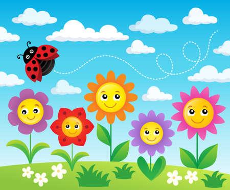 Happy flowers topic image 2 - eps10 vector illustration. Illustration