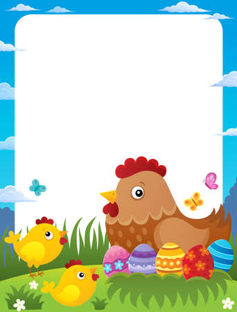 Frame with Easter hen and chickens - eps10 vector illustration. Ilustrace