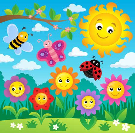 Sun flower: Glückliche Blumen Thema Bild 3 - eps10 Vektor-Illustration.