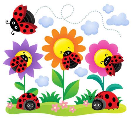 Stylized ladybugs theme image 5 - eps10 vector illustration.