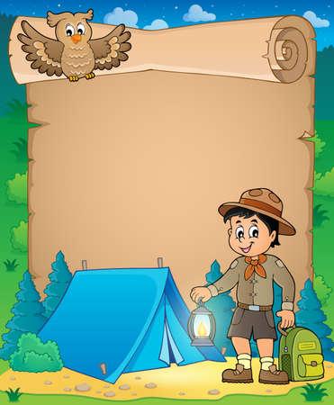 Parchment with scout boy theme 3 - eps10 vector illustration.
