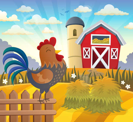 Farmland with rooster on fence - eps10 vector illustration.