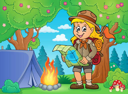Scout girl theme image 5 - eps10 vector illustration.