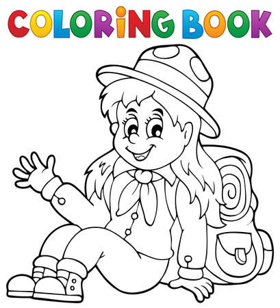 Coloring book scout girl theme 1 - eps10 vector illustration.