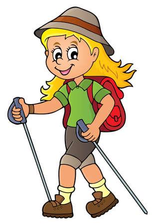 Vrouw thema 1 van het wandelaarsthema - de vectorillustratie van eps10. Vector Illustratie