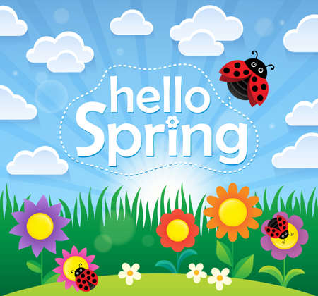 Hello spring theme image vector illustration.