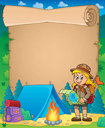 Parchment with scout girl theme 3 - eps10 vector illustration. Illustration