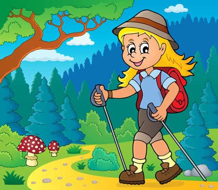 Woman hiker theme image 2 - eps10 vector illustration. Stock Illustratie