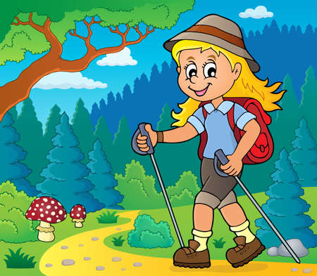 Woman hiker theme image 2 - eps10 vector illustration. Иллюстрация