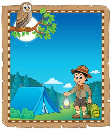 Parchment with scout boy theme 2 - eps10 vector illustration.